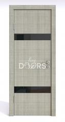 Дверь межкомнатная DO-502 Серый дуб/стекло Черное