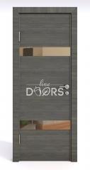 Дверь межкомнатная DO-502 Ольха темная/зеркало Бронза