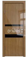 Дверь межкомнатная DO-512 Анегри темный/стекло Черное