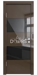 Дверь межкомнатная DO-508 Шоколад глянец/стекло Черное