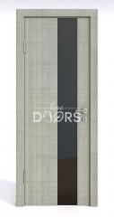 ШИ дверь DO-604 Серый дуб/стекло Черное