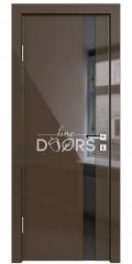 Дверь межкомнатная DO-507 Шоколад глянец/стекло Черное