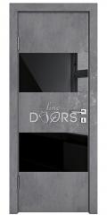 Дверь межкомнатная DO-508 Бетон темный/стекло Черное