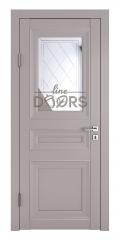 Дверь межкомнатная DO-PG4 Серый бархат/Зеркало ромб фацет