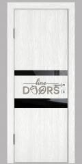 Дверь межкомнатная DO-512 Белый глубокий/стекло Черное