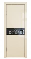 ШИ дверь DO-609 Ваниль глянец/стекло Черное