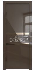 Дверь межкомнатная DO-513 Шоколад глянец/зеркало Бронза