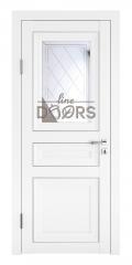 Дверь межкомнатная DO-PG4 Белый бархат/Зеркало ромб фацет