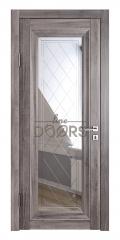 Дверь межкомнатная DO-PG6 Орех седой темный/Зеркало ромб фацет