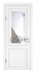 Дверь межкомнатная DO-PG2 Белый бархат/Зеркало ромб фацет