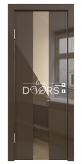 Дверь межкомнатная DO-510 Шоколад глянец/зеркало Бронза