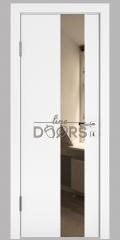 Дверь межкомнатная DO-504 Белый бархат/зеркало Бронза