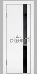 ШИ дверь DO-607 Белый бархат/стекло Черное