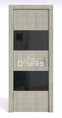 ШИ дверь DO-608 Серый дуб/стекло Черное