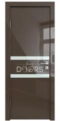 Дверь межкомнатная DO-513 Шоколад глянец/стекло Белое