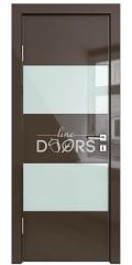 ШИ дверь DO-608 Шоколад глянец/стекло Белое