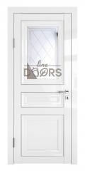 Дверь межкомнатная DO-PG4 Белый глянец/Зеркало ромб фацет