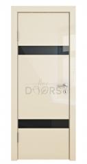 Дверь межкомнатная DO-502 Ваниль глянец/стекло Черное