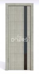 ШИ дверь DO-607 Серый дуб/стекло Черное