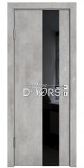 Дверь межкомнатная DO-504 Бетон светлый/стекло Черное