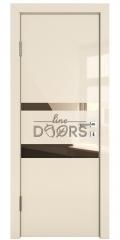 Дверь межкомнатная DO-512 Ваниль глянец/зеркало Бронза
