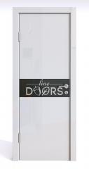 ШИ дверь DO-609 Белый глянец/стекло Черное