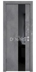 Дверь межкомнатная DO-504 Бетон темный/стекло Черное