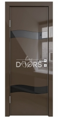 Дверь межкомнатная DO-503 Шоколад глянец/стекло Черное