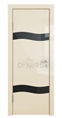 ШИ дверь DO-603 Ваниль глянец/стекло Черное