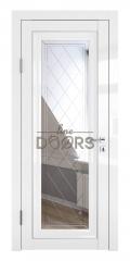 Дверь межкомнатная DO-PG6 Белый глянец/Зеркало ромб фацет