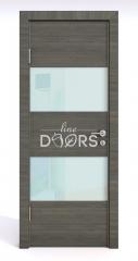 ШИ дверь DO-608 Ольха темная/стекло Белое