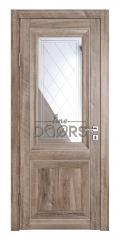 Дверь межкомнатная DO-PG2 Орех седой светлый/Зеркало ромб фацет