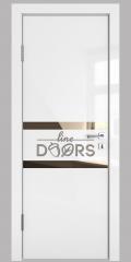 ШИ дверь DO-613 Белый глянец/зеркало Бронза
