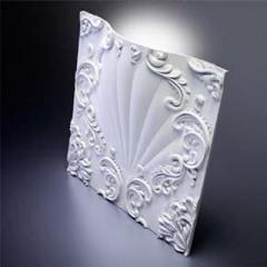 Гипсовая 3D панель VALENCIA LED (White) 600x600x91 мм