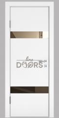 Дверь межкомнатная DO-502 Белый бархат/зеркало Бронза