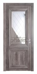 Дверь межкомнатная DO-PG2 Орех седой темный/Зеркало ромб фацет