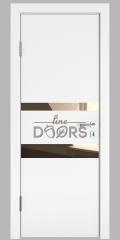 Дверь межкомнатная DO-512 Белый бархат/зеркало Бронза