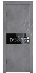 Дверь межкомнатная DO-501 Бетон темный/стекло Черное