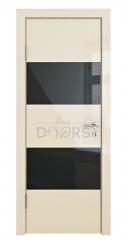 Дверь межкомнатная DO-508 Ваниль глянец/стекло Черное