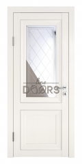 Дверь межкомнатная DO-PG2 Белый ясень/Зеркало ромб фацет