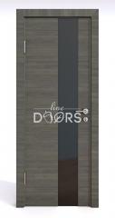 Дверь межкомнатная DO-504 Ольха темная/стекло Черное