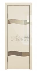 Дверь межкомнатная DO-503 Ваниль глянец/зеркало Бронза