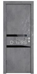 Дверь межкомнатная DO-513 Бетон темный/стекло Черное