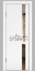 ШИ дверь DO-607 Белый бархат/зеркало Бронза