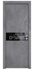 Дверь межкомнатная DO-509 Бетон темный/стекло Черное