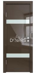 Дверь межкомнатная DO-502 Шоколад глянец/стекло Белое