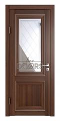 Дверь межкомнатная DO-PG2 Орех тисненый/Зеркало ромб фацет