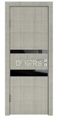 Дверь межкомнатная DO-512 Серый дуб/стекло Черное