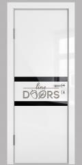 Дверь межкомнатная DO-513 Белый глянец/стекло Черное