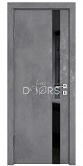 Дверь межкомнатная DO-507 Бетон темный/стекло Черное